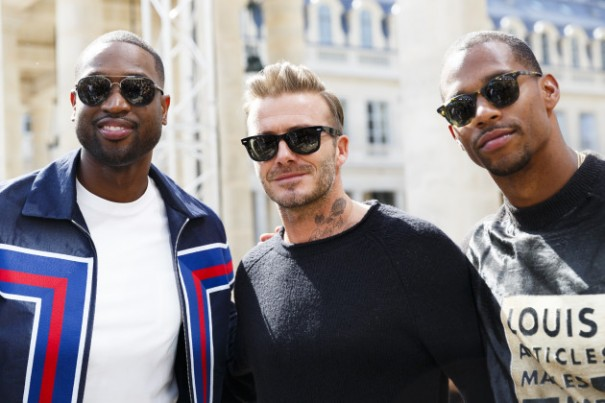 PARIS, FRANCE - JUNE 23:  Dwyane Wade, David Beckham and Victor Cruz attends the Louis Vuitton Menswear Spring/Summer 2017 show as part of Paris Fashion Week on June 23, 2016 in Paris, France.  (Photo by Tristan Fewings/WireImage)