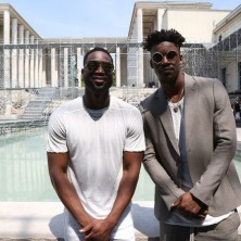 Waiting for the Rick Owens show to start with my dude Jimmy Butler. Photo: Emanuele D'Angelo for Bob Metelus Studios