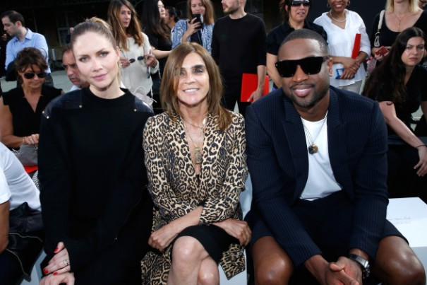 PARIS, FRANCE - JUNE 24:  (L-R) Model Ana Claudia Michels, journalist Carine Roitfeld and basket-ball player Dwyane Wade attend the Givenchy Menswear Spring/Summer 2017 show as part of Paris Fashion Week on June 24, 2016 in Paris, France.  (Photo by Bertrand Rindoff Petroff/Getty Images)